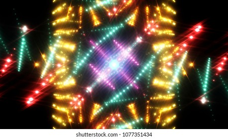 Golden abstract background holidays lights in motion blur image. illustration digital.