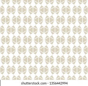 Golden abstract geometric seamless pattern. Simple white and gold ornament texture with triangles, diamond shapes, net, grid. Stylish modern geometry background. Luxury repeat design for decor