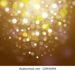 Golden abstract glowing bokeh background