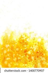 Golden abstract honeycomb in watercolor