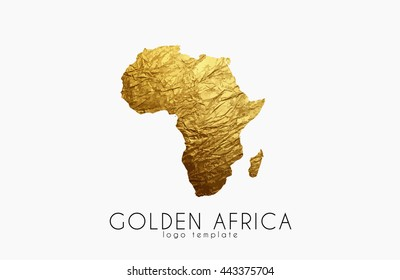 Golden Africa Logo. Africa map golden design