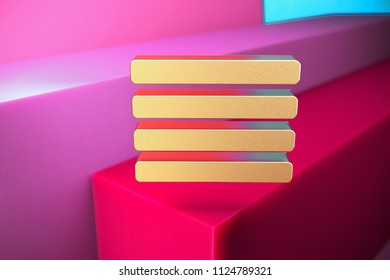 Golden Align Text to Justify Icon on the Magenta and Cyan Geometric Background. 3D Illustration of Gold Align, Alignment, Center, Hamburger, Justify, Menu, Text Icon Set With Color Boxes on Magenta Ba