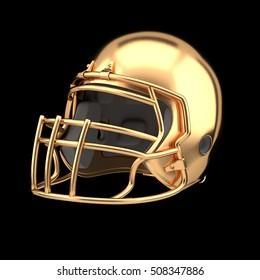 Golden American football helmet Illustration. Sport equipment. 3D Rendering. Symbol of Cup or Trophy.