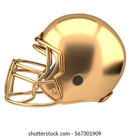 Golden American football helmet Illustration. Side view. Sport equipment. Symbol of Cup or Trophy. 3D render Illustration Isolated on white background.