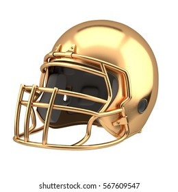 Golden American football helmet Illustration. Sport equipment. Symbol of Cup or Trophy. Isolated on white background.