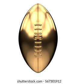 Golden American football and Rugby Ball Illustration. Front view. Sport equipment. Symbol of Cup or Trophy. 3D render Illustration Isolated on white background.
