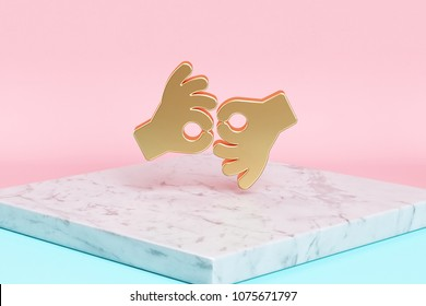 Golden American Sign Language Interpreting Icon on the Candy Background . 3D Illustration of Golden Deaf, Disabled, Finger, Gesture, Gestures Icons on Pink and Blue Color With White Marble.