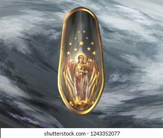 Golden Angel on silver shield
