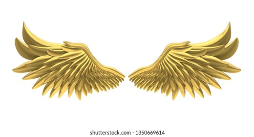 Golden Angel Wings Isolated. 3D rendering