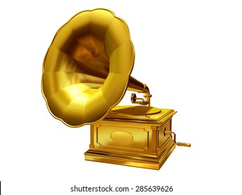 golden, antique Gramophone