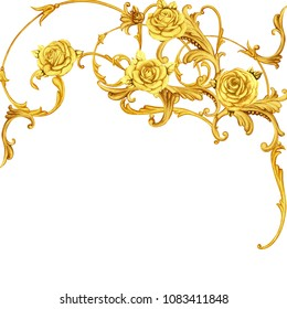 Golden arabesque with roses