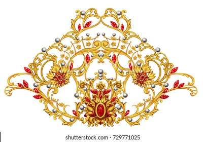 Golden arabesque with rubies