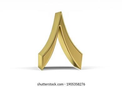 "Golden Arabic numeral - three dimensional Arabic numeral on white background - Translation: digit ""8"" - 3d render"