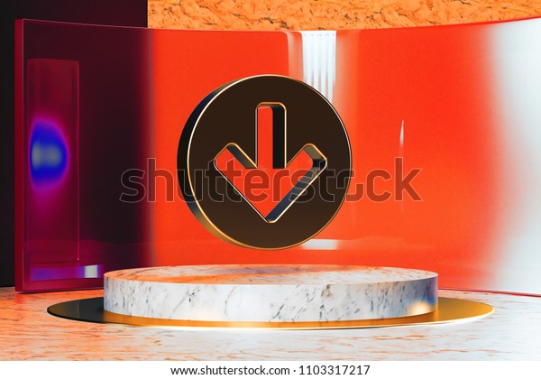 Golden Arrow Circle Down Icon on White Marble and Red Glass. 3D Illustration of Stylish Golden Arrow, Arrows, Circle, Circular, Direction, Down Icon Set in the Red Installation.
