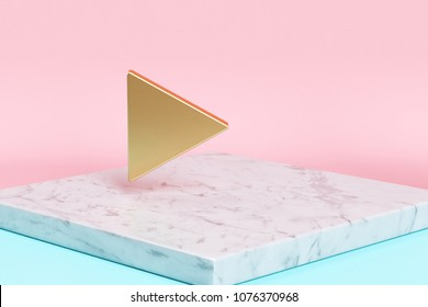 Golden Arrow Play Icon on the Candy Background . 3D Illustration of Golden Arrow, Button, Buttons, Multimedia, Play, Round Icons on Pink and Blue Color With White Marble.