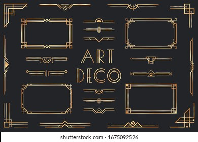 Golden art deco elements. Ornamental frame, retro 1920s divider border and decorative gold corner  set. Collection of fancy luxury metallic decorations, geometric ornaments in vintage style.