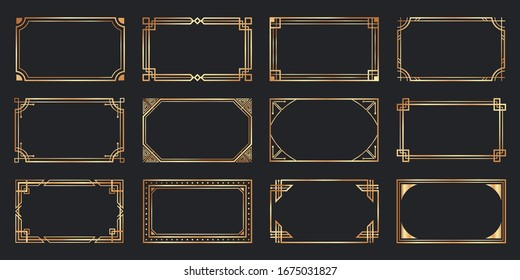 Golden art deco frames. Vintage decorative frame, gold ornaments borders and geometric lines ornament  set. Elegant decorations with copyspace. Luxurious decorative design elements