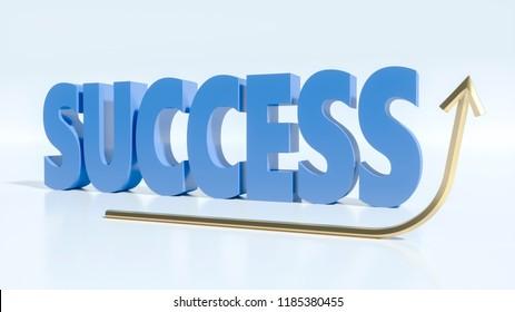 Golden ascending arrow in front of a blue « success » word 3d rendering