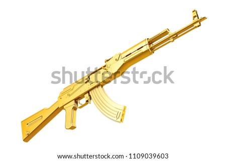 Golden assault rifle 3D