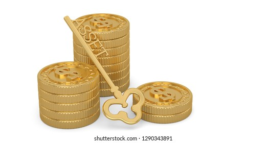 Golden asset key and gold coin stacks isolated on white background. 3D illustration.