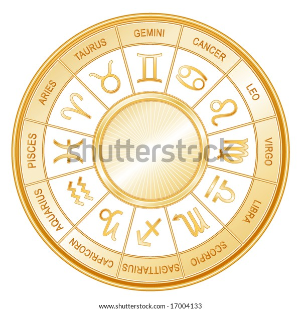 a44a7deca Golden Astrology Wheel. 12 horoscope signs of the zodiac with titles on a  white background
