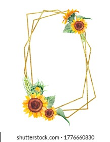 Golden asymmetric frame with watercolor sunflowers, leaves. Hand painted illustration isolated on white background. Can be used for wedding invitations, greeting cards, birthdays and baby cards.