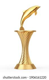 Golden Award Trophy Tursiops Truncatus Ocean or Sea Bottlenose Dolphin on a white background. 3d Rendering