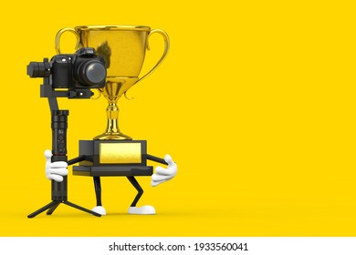 Golden Award Winner Trophy Mascot Person Character with DSLR or Video Camera Gimbal Stabilization Tripod System on a yellow background. 3d Rendering