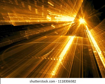 Golden background - glass portal. Abstract computer-generated 3d illustration. Fractal background for sci-fi, modern technology or virtual reality design projects.