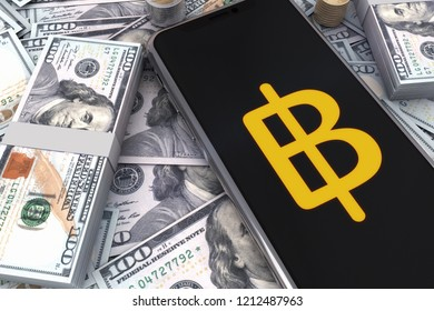 Golden Baht Money Logo And Dollars On Smart Phone . 3D Illustration of Gold Baht Money And One Hundred Dollars Banknotes Background. 3D rendering.