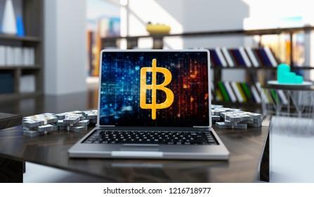 Golden Baht Money Logo Write Laptop On Living Room Background. 3D Illustration Of Gold Baht Money Sing.