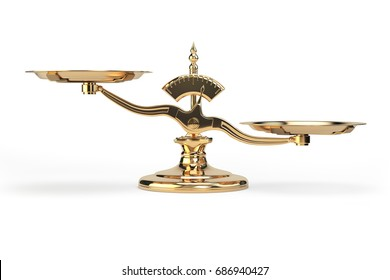 Golden balance scales isolated on white background. 3d illustration