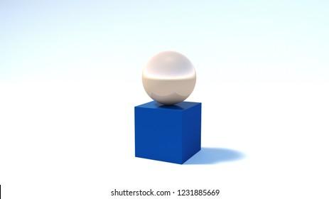 Golden ball on a blue cube, a 3d rendering