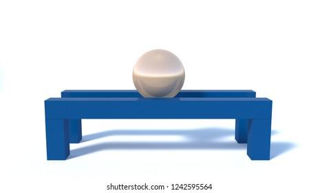 Golden ball on a blue wooden pedestal, an abstract 3d scene