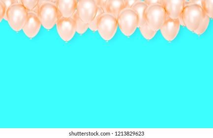 Golden Balloons blue festive background, celebration banner, 3d rendering