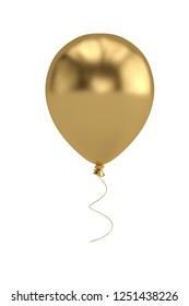 Golden balloons isolated on white background 3D illustration.