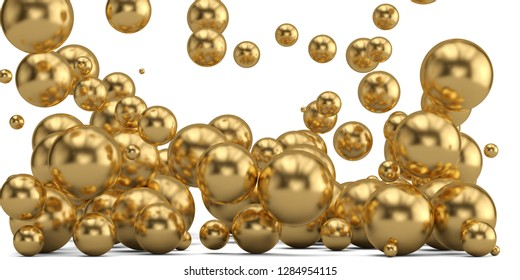 Golden balls abstract background golden pearl. 3D illustration.