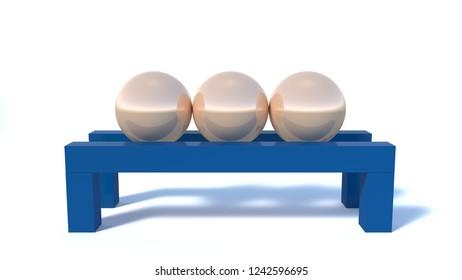 Golden balls on a blue wooden pedestal, a serene abstract 3d scene
