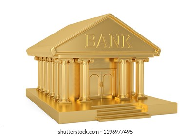 Golden bank building isolated on white background 3D illustration.