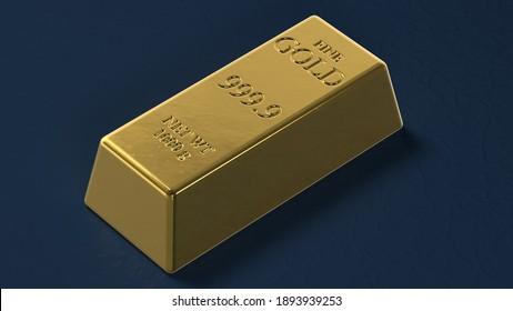 Golden bar on a dark blue background. 3d render.