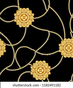 Golden baroque background.Seamless pattern.