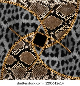 Golden Baroque Chains Ornament Design With Leopard and Snake Skin, Wild Pattern