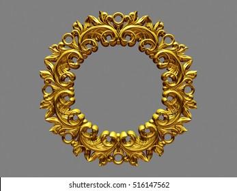 golden, baroque, circle Frame, 3d Illustration