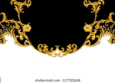 Golden baroque decorative composition