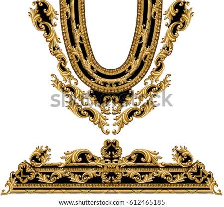 golden baroque frameのイラスト素材 612465185 shutterstock