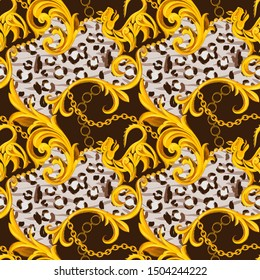 Golden baroque ornament design with artistic leopard skin fur leather texture. Animal seamless pattern for textile print.