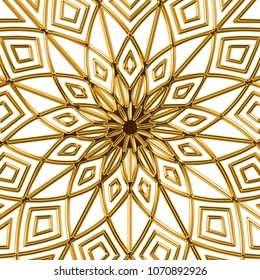 Golden Baroque Ornament. Gold cartouche on a white background