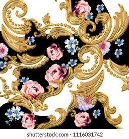 Golden Baroque Ornament. Gold cartouche on and floral  background