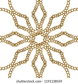 Golden Baroque Ornament. Gold cartouche on a chain, geometric