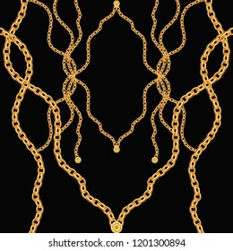 Golden Baroque Ornament. Gold cartouche on a black background, shiny, chains